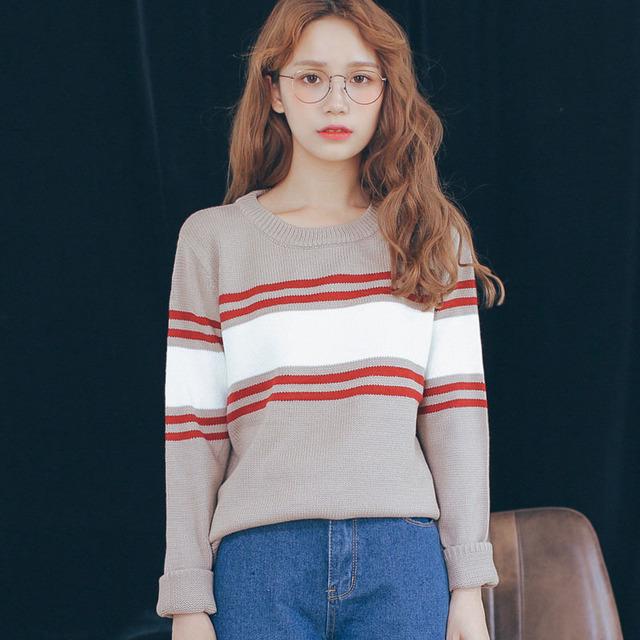 2015 ulzzang девушка широкий полосатый пара вязаный пуловер осень женщины винтажном ...