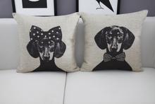 Vintage Black Cat Linen Pillow Cushion Cover