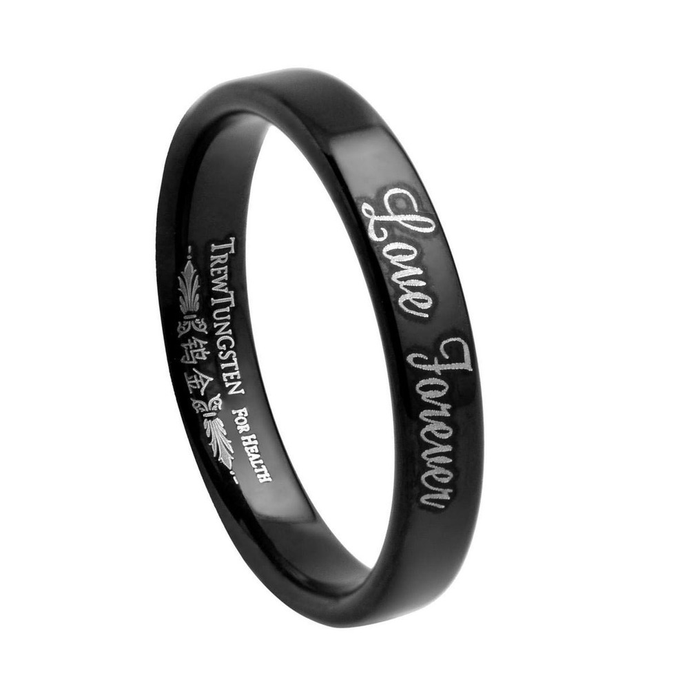 Ladies Flat Style Black Tungsten Wedding Band with Brushed Finish Laser Engraved Love Forever Width 3.5mm Rings /TURI0018BM(China (Mainland))