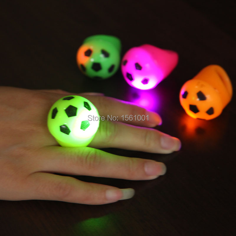 36PCS/Lot 4 colours football LED flashing finger ring luminous finger ring party favors LED light up ring for kids children toys(China (Mainland))