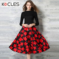 Women Fashion Fit And Flare Maxi Big Swing Dress 2016 Spring Autumn Belted Tunic Long Sleeves