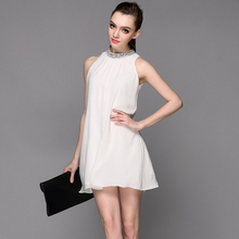 2016 summer New arrival Women brand clothing Dress Celebrity sleeveless Party Dresses Solid color vestidos Caystal High quality(China (Mainland))