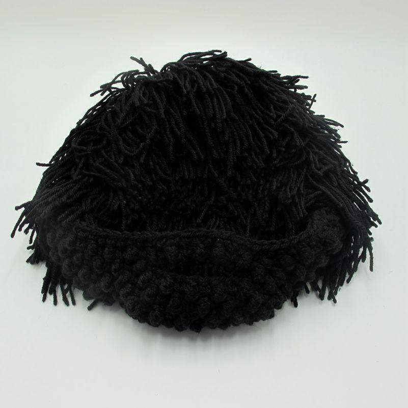 BomHCS Funny Party Mask Beanies Wig Beard Hats Hobo Mad Handmade Knit Warm Winter Caps Halloween Gift