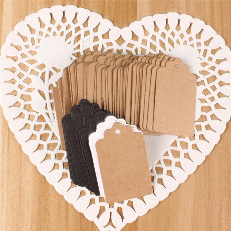 100pcs 2*4cm Paper Gift Tags Card White Scallop Festival Party Birthday Wedding Decoration Blank Mini Luggage Label WA623 P40(China (Mainland))