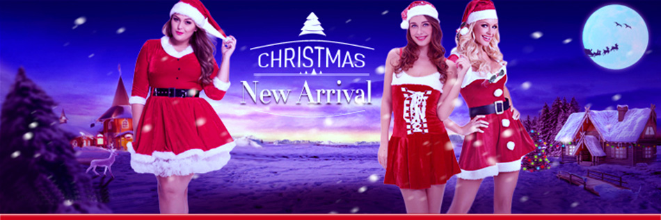 2016 Three Piece Red Strapless Merry Christmas Dress Women Sexy Christmas Costume Backless Sleeveless Off Shoulder Santa Dress