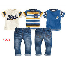Retail new summer style boys clothes 3 T-shirt + jeans 4pcs baby boy clothing set next vetement garcon 2-7T free shipping