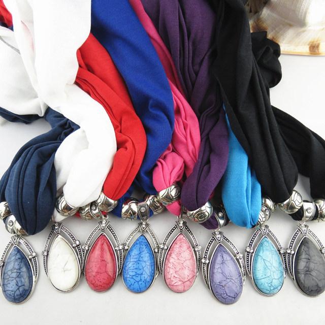 Женщины зимой DIY европа ретро капельки подвеска шарф с кисточкой горный хрусталь ...