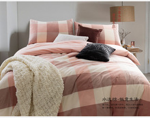 Brief Design Cotton Bedding Sets Twin Full Queen King Size Baby Pink Plaid Bedclothes Duvet Flitted Sheet Cover Bed Linens Set(China (Mainland))