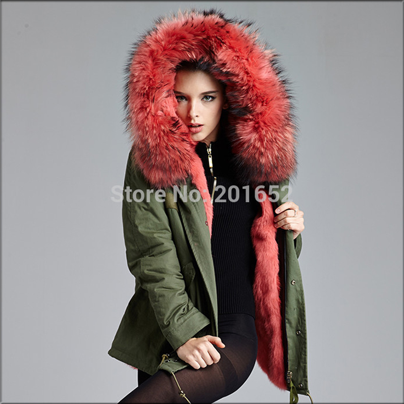 Winter Coral Women Detachable Big Fur Hooded Coat, Popular Army Green Lining Coat Jacket MRS FURS - Harve leger store