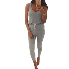 2016 New Summer Rompers Womens Jumpsuit Black Sexy Sleeveless Long Pants Gray Cotton Casual Playsuit Strap Pocket Overalls XL