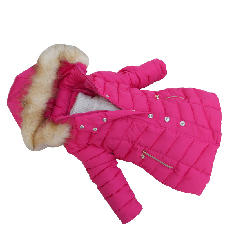 2015 Fashion Girls Winter Coat Long Cotton-padded Jacket Parka Fur Collar Girl Clothes Hooded Children Clothing 6-12Y