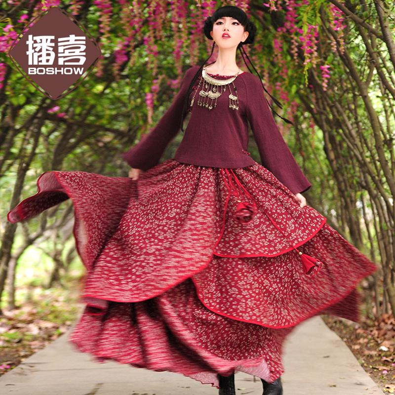 Webcasts 2015 autumn female fluid print irregular bust skirt full dress expansion skirtОдежда и ак�е��уары<br><br><br>Aliexpress