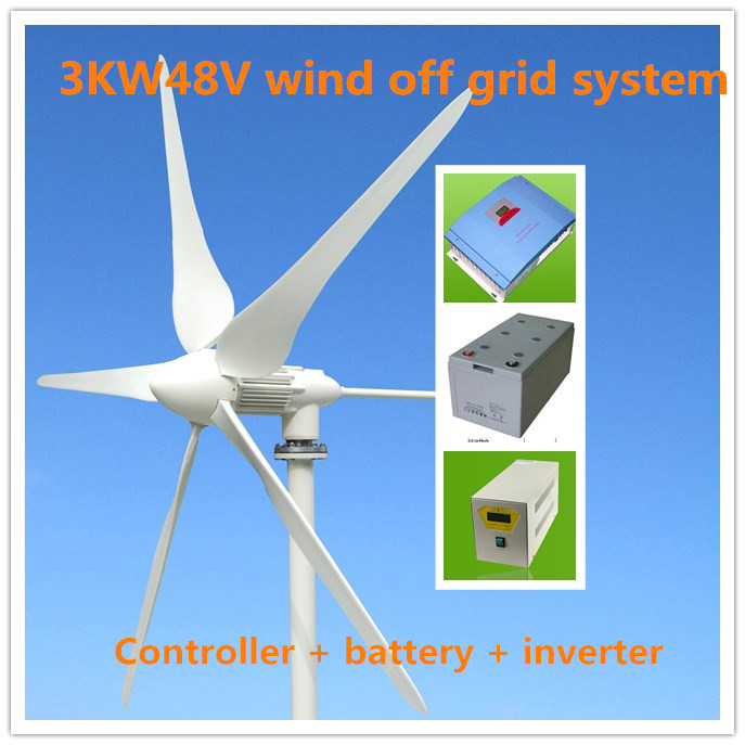 3kw wind turbine 3000W48V wind off grid system + controller + inverter(China (Mainland))