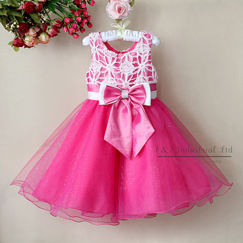 New Arrival Kids Girl Fashion Party Dress Pink with Bow Beautiful Princess Dresses Children Clothes