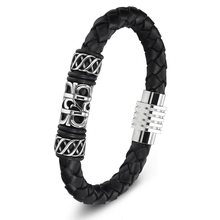 XQNI Chinese Style Geometric Totem Pattern with Magnetic Clasp Genuine Leather Bracelet For Unisex Special Gift Wholesale Price(China)