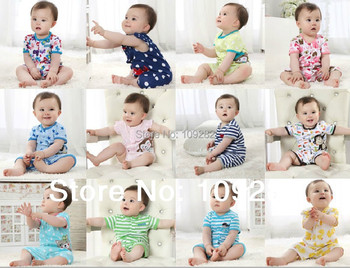 2015 New Arrival Summer Baby Clothing Short Sleeves Clothes Shorts Rompers Cartoon Overalls Jumpsuit Children Pajamas