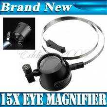 Hot Sale!!! Jewellery Led Lighted 15X Eye Loupe Hands-Free Head Band Magnifier Watchmakers Watch Repair Tool Best Promotion