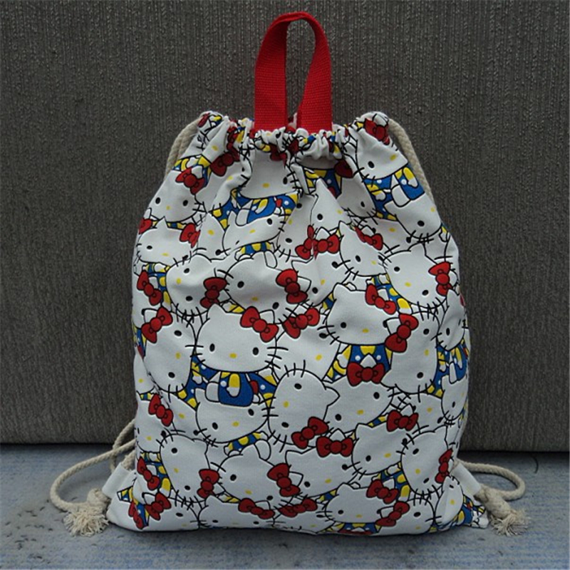 Cotton Canvas Fabric Outdoor Travel Casual Hello kitty women drawstring backpack sports bag rucksack(China (Mainland))