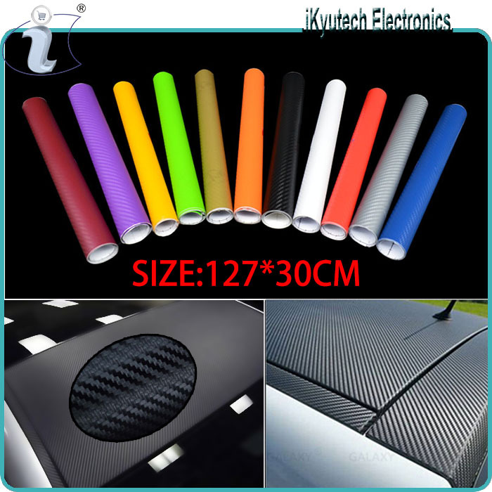 127*30CM Waterproof DIY Car Sticker Car Styling 3D 3M Car Carbon Fiber Vinyl Wrapping Film With Retail packaging, Scrape Panel(China (Mainland))