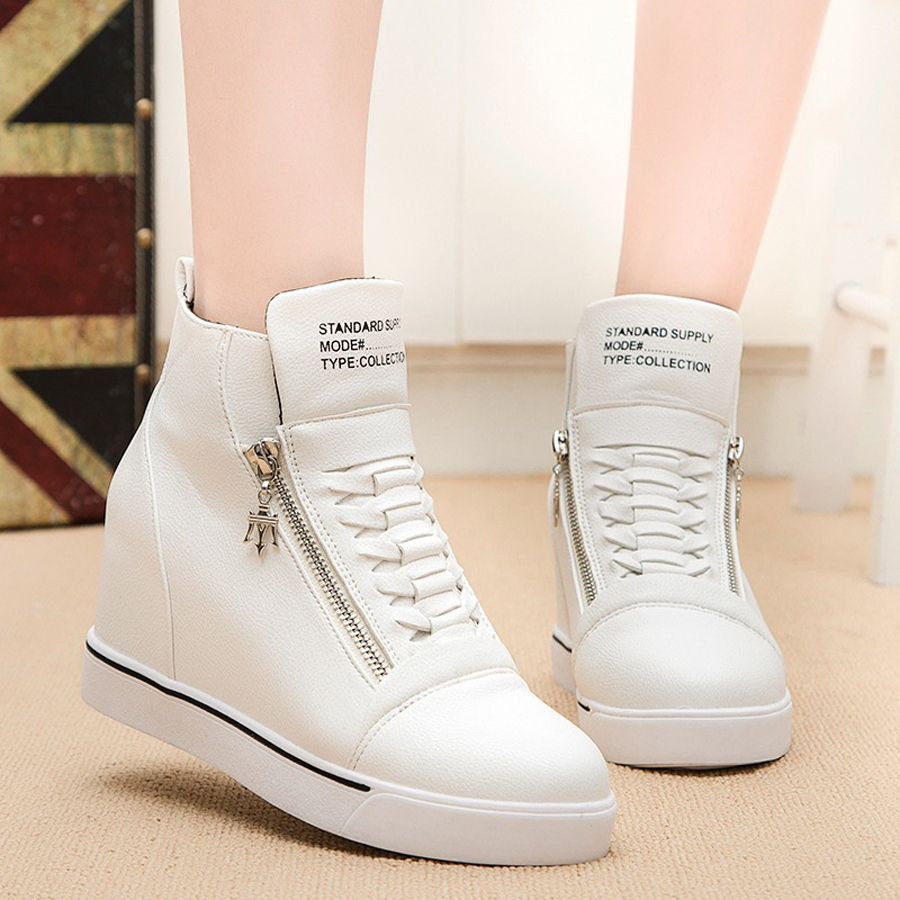 women winter shoes leather boots height increase elevator