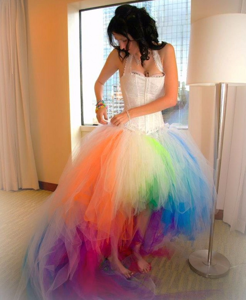 Popular rainbow wedding dresses buy cheap rainbow wedding for Rainbow wedding dress say yes to the dress