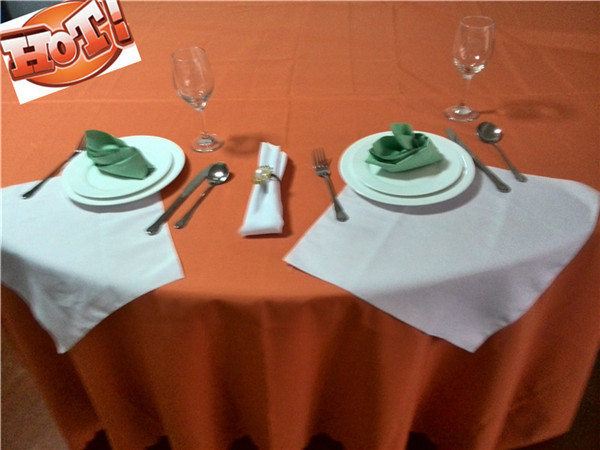 70'' 100% Cotton Fabric Orange TableCloths Dining Table Cloth(China (Mainland))