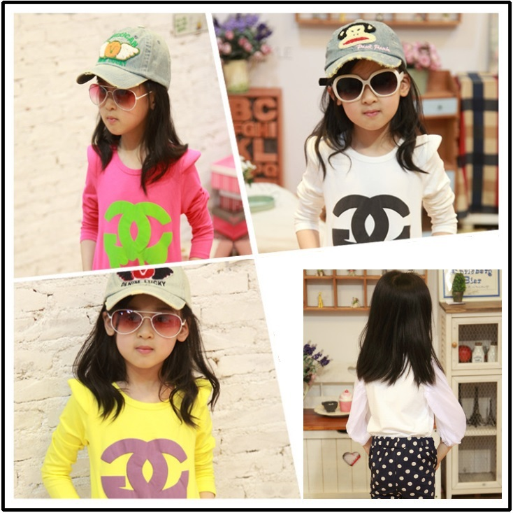 2013 New Style T-shirts Girls Children's Tee Shirt Clothes Long Sleeve Kids Tops Z362