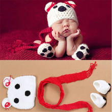 1-12 months Bear baby photography props Hot Infant Photo Hat+Scarf+Shorts Newborn Photo Clothes Studio Photo Accessories