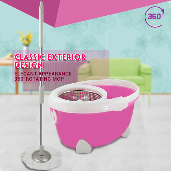 Hot sale stainless pole High quality telescopic hand press 360 degree spin dry magic mop rotating mop with two mop heads(China (Mainland))