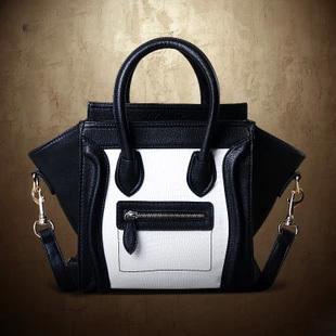 Handbag Women 2013 Fashion Vintage Bag Black-And-White Clutchs Smiley Handbag One Shoulder Bag Messenger City Tote Bag Designer(China (Mainland))