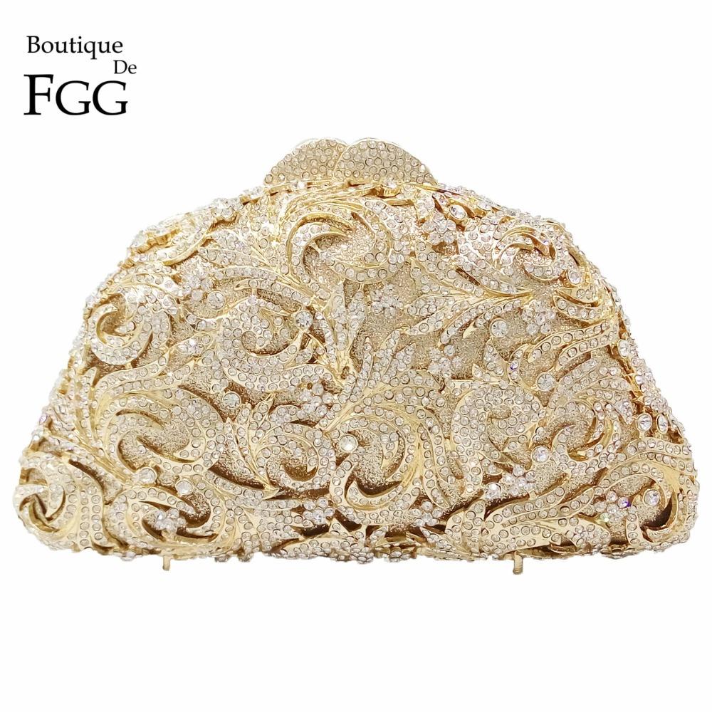 Women's Hollow Out Clear Crystal Golden Evening Clutch Bags Bridal Wedding Dress Metal Hard Case Dinner Handbags Shoulder Bag(China (Mainland))