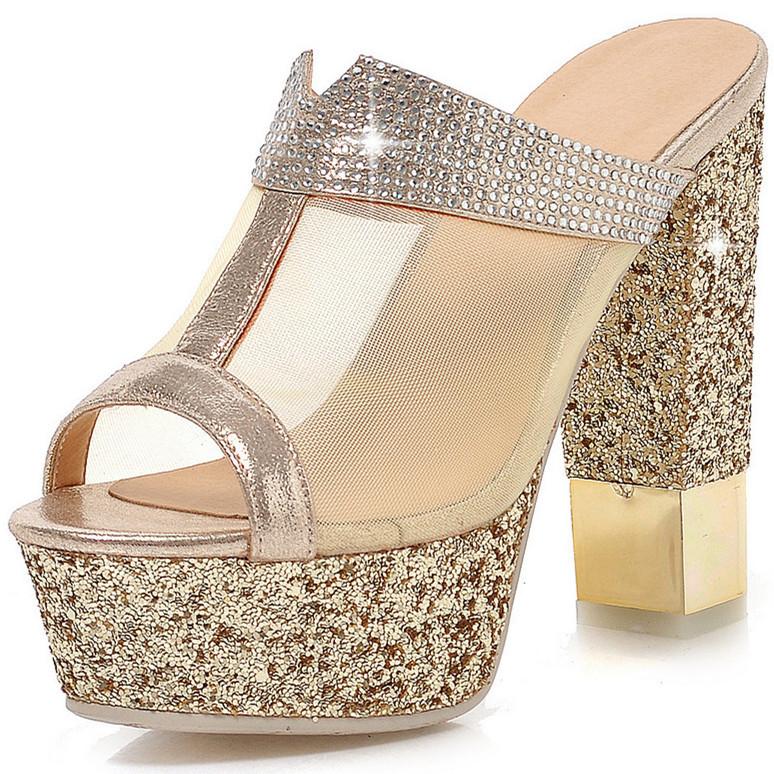 ENMAYER Women Sandals fashion Ankle Straps shoes Sandals Party High-heeled Wedding Sandals Open Peep Toe Platform Sandals hot