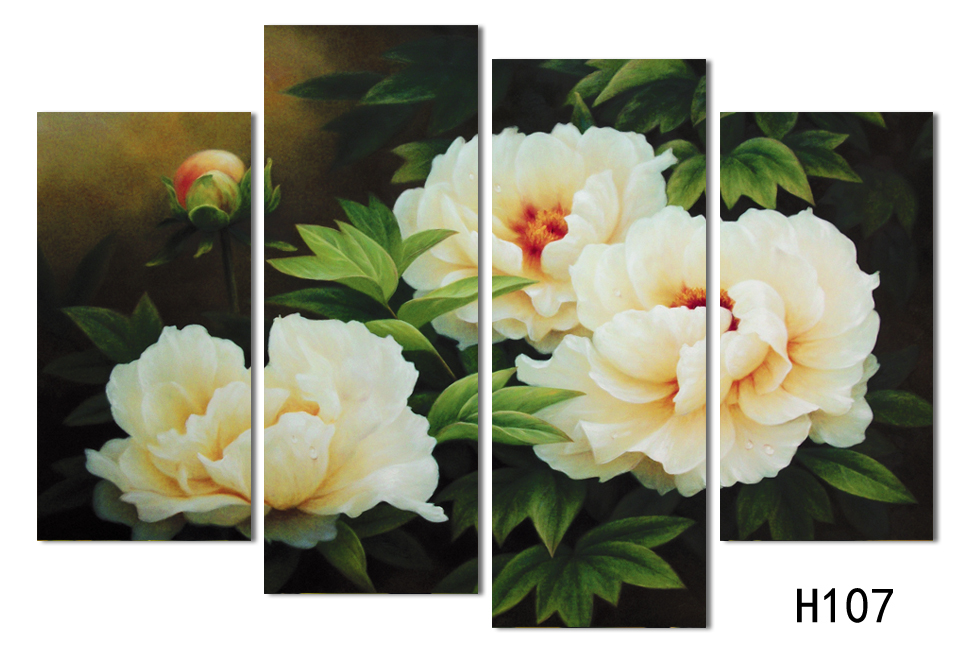 4 squares art canvas painting free shipping home decoration digital photo peony flower painting image (frameless) F107(China (Mainland))