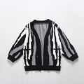 Retail Autumn Winter Korean Knitwear Cardigan Boys And Girls Zebra stripe Rabbit Fiber Sweaters Kid Fashion
