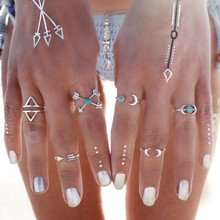6PCS Vintage Turkish Beach Punk Moon Arrow Ring Set Ethnic Carved Silver Plated Boho Midi Finger Ring Knuckle Charm anelli