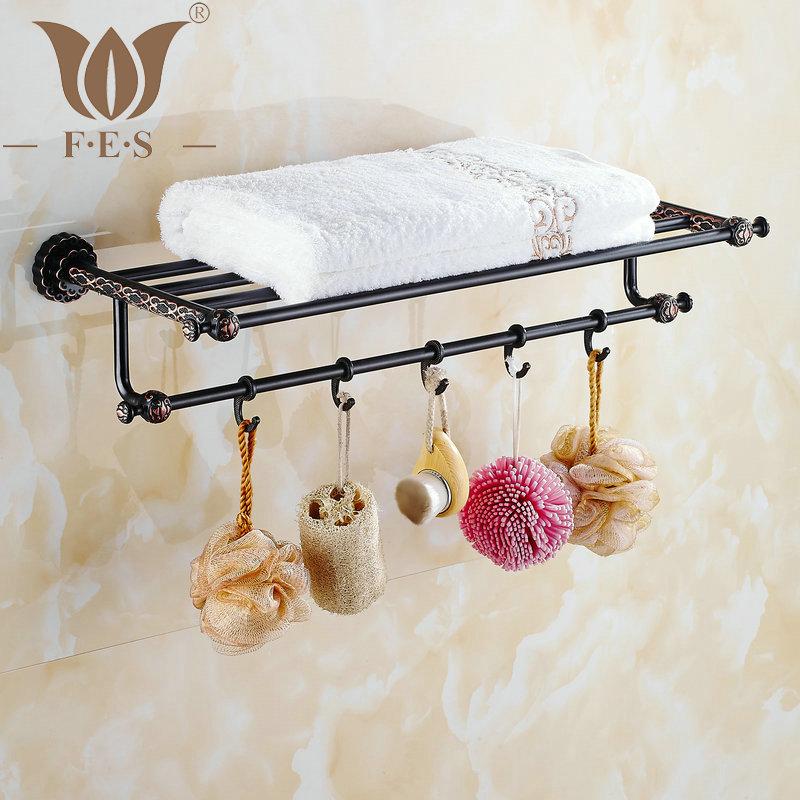 Twin Flowers Series Carving Black Brass Towel Rack Towel Shelf With Single Towel Bar Hooks Wall Mounted Bathroom Accessories(China (Mainland))