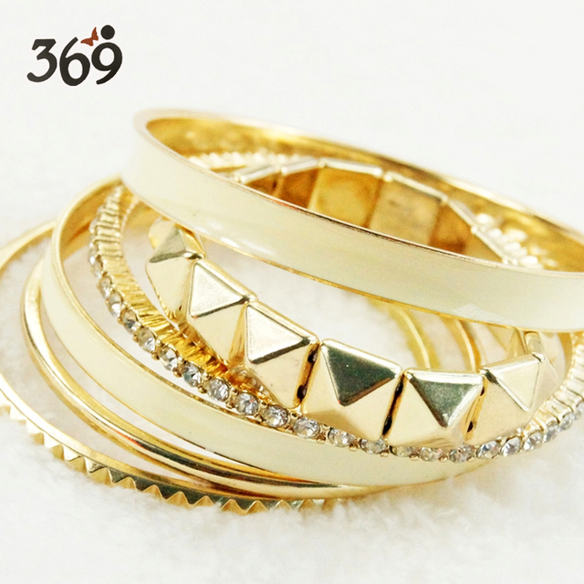 Hot gold crystal stone street style pyramid epoxy Bracelet for women wedding anniversary