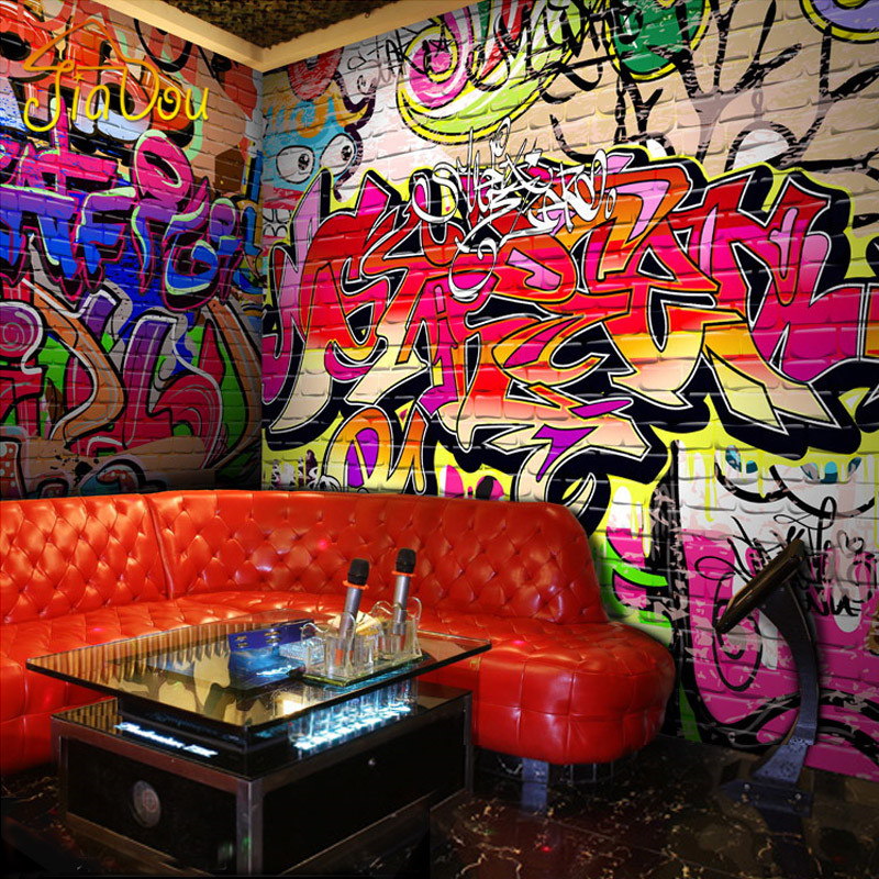 Custom photo wallpaper fashion personality graffiti for Custom photo mural