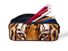 2015 New Arrival 3D Animal Printing Pencil Case Cute Dog Pencil Bag for Kids Multifunction Zoo Tiger Head Case Horse Pen Pouch(China (Mainland))