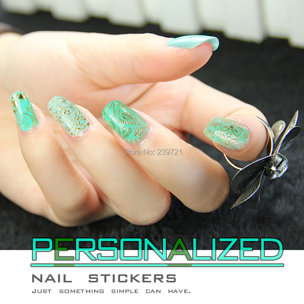 Hot-Selling Latest Popular Gold 3D Nail Stikcer 100% Brand New Nail Art Decorations Tools Mix 60PCS Design Decals Freeshipping(China (Mainland))