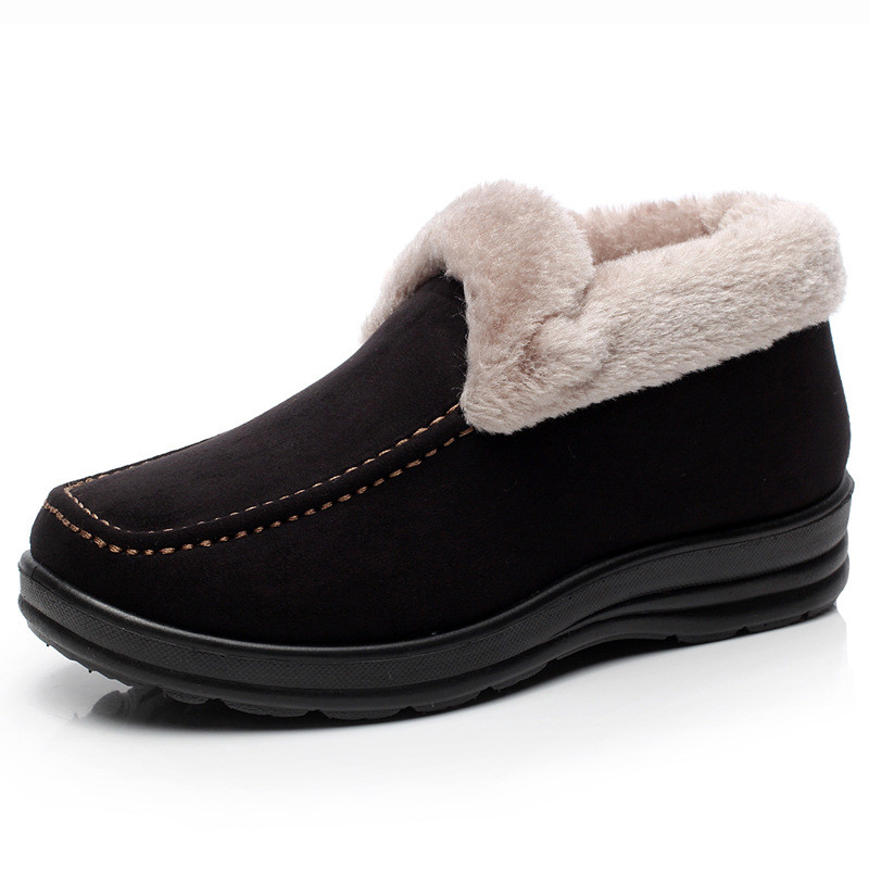Winter Low Top Snow Boots Sexy Womens Flat Wearproof Anlke Boots Flock Woman Super Warm Slip-on Soft Antiskid Women Shoes