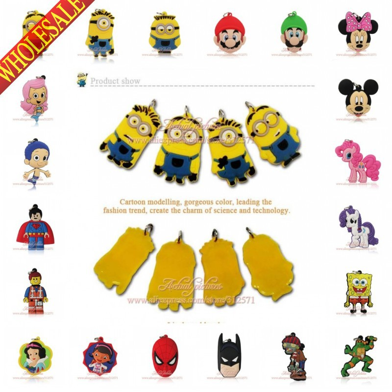 Free DHL 1000Pcs Minions/Avengers Mickey Cartoon Pendants Phone Charms Figure Pendant Charms for key chain Bracelet DIY Jewelry(China (Mainland))