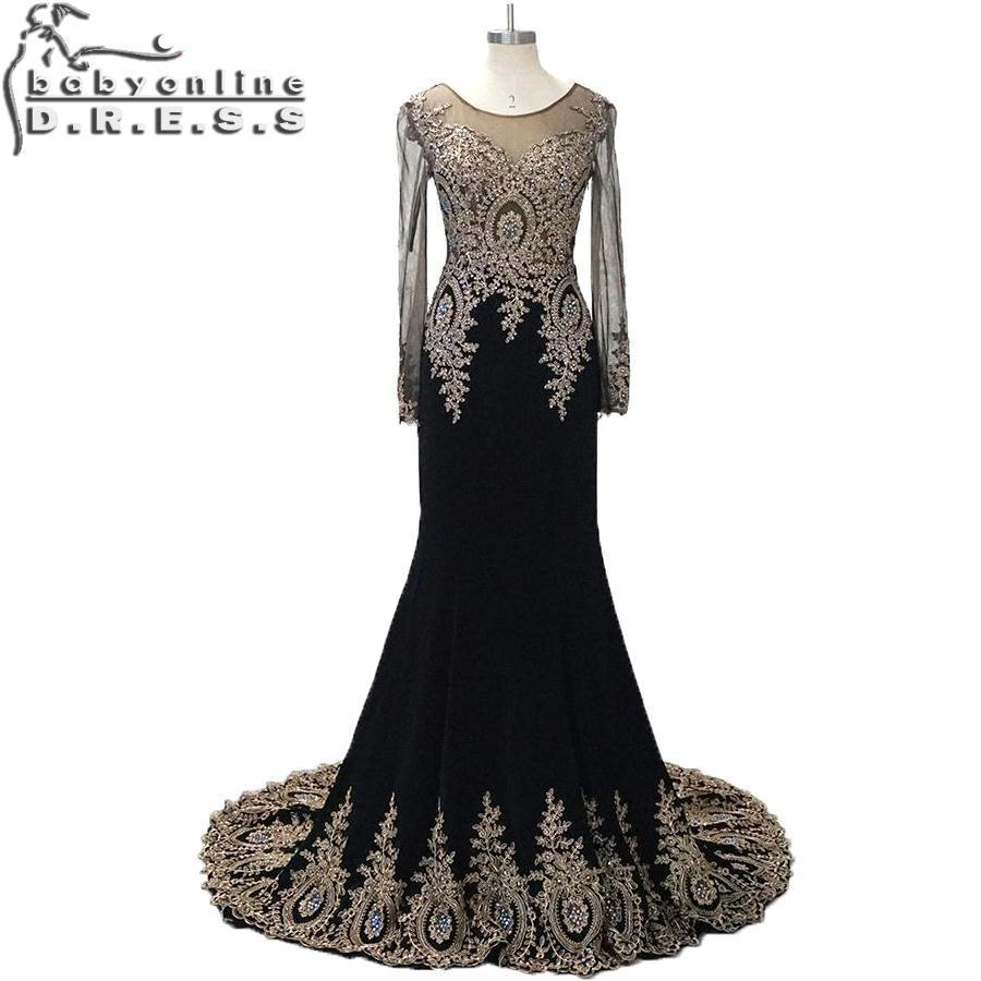 Real Samples 100% Real Photos 2015 New Gold Appliques Beaded Prom Dresses Vestidos Long Sleeves Dubai Arabic Evening Gown(China (Mainland))
