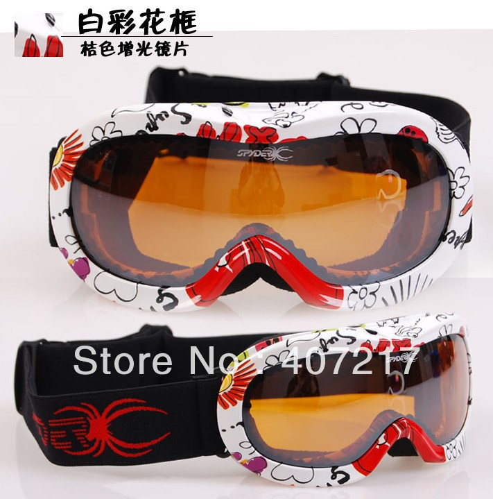 Free shipping Anti-Fog children's flower frame colorful bilayer lens ski goggles Snowboard Goggles can put near-sighted eyewear(China (Mainland))