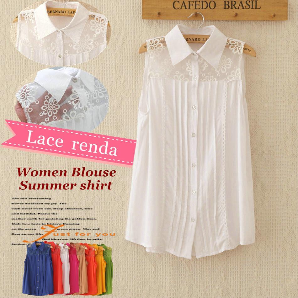 2015 Spring Summer women camisas fashion blouse embroidery flower lace shoulder shirt renda blusas femininas 2014 sleeveless top(China (Mainland))
