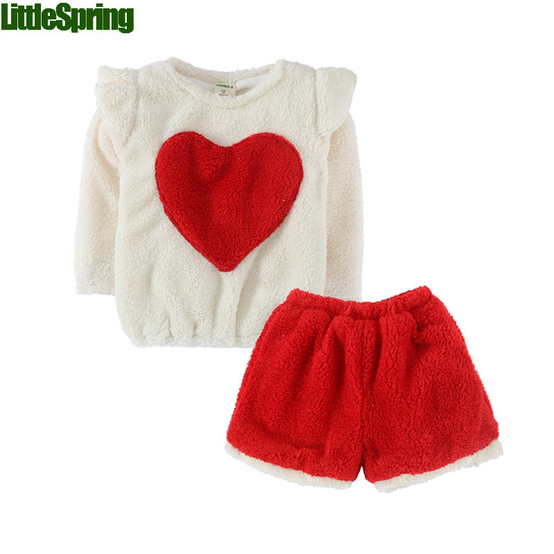 Arrive! Girls clothing sets fashion autumn and winter kids long sleeves velvet heart warm children's clothing baby girls clothes(China (Mainland))