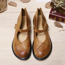 Women Genuine Leather Flat Shoes Vintage Black/Brown Nude Designer Oxford Shoes Flatfeet Hook&Loop Flats Mori Girl Design (7888)(China (Mainland))