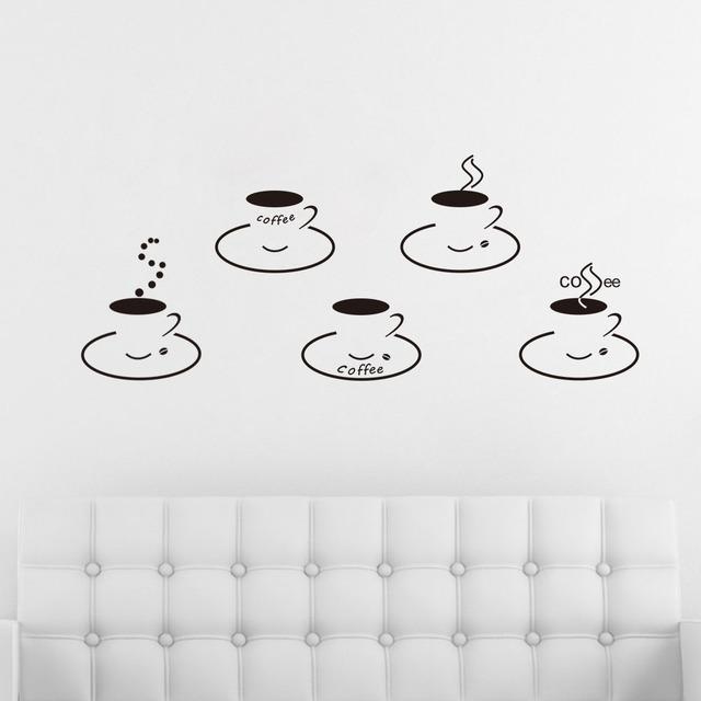 Кофейные чашки кухня наклейки съемный наклейки виниловые обои домашнего декора стены искусства наклейки ZYVA-8199
