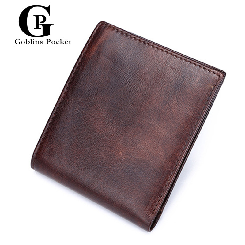 [Goblins Pocket ] Delicate Cowhide Material Man Purse Vintage Brown Genuine leather Horizontal Wallets For Male GP/8054<br><br>Aliexpress