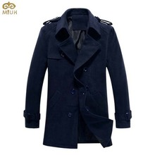 Solid Plus Size Trench Coat Men 5XL 4XL Black Navy Cotton Slim Fit Long Mens Overcoat Turn-down Collar Manteau Homme 2016 New(China (Mainland))